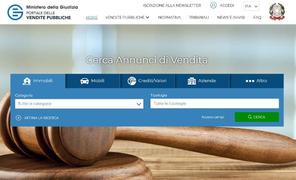 Interfaccia Portale delle vendite pubbliche