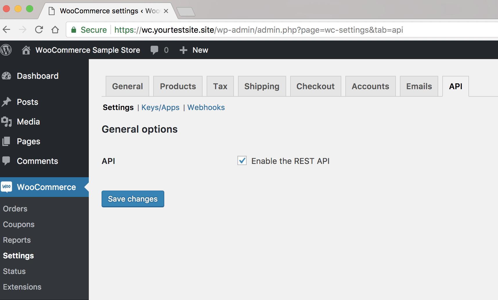Abilitazione REST API