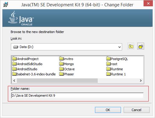 Percorso di installazione per le JDK 9