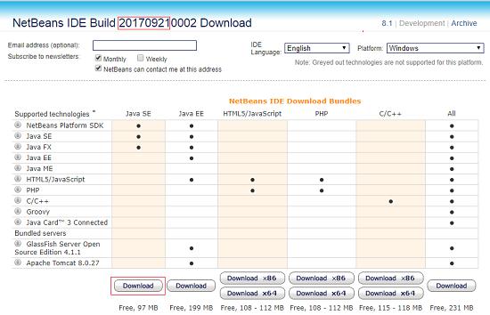 NetBeans IDE Build 201709220002
