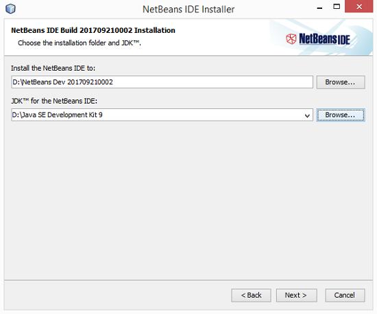 Installazione NetBeans IDE Build 201709220002
