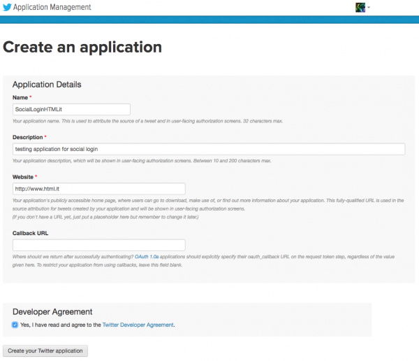 Form di creazione di una nuova applicazione su Twitter