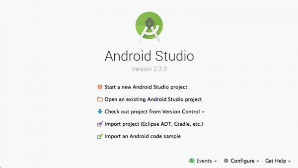 Schermata iniziale di Android Studio