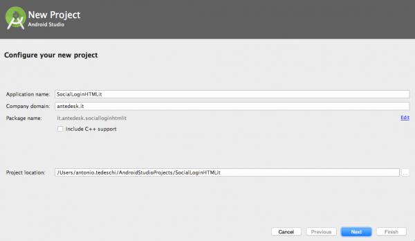 Schermata di inizializzazione del progetto