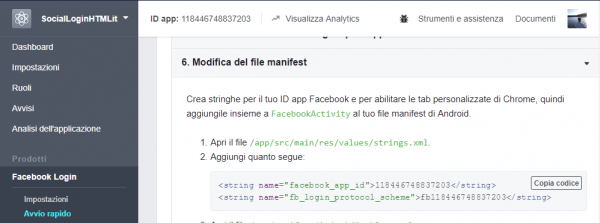 Sezione modifica del file manifest per il Facebook Login