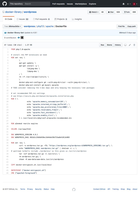 WordPress Dockerfile