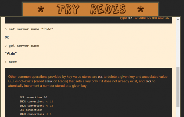 Homepage di Try Redis