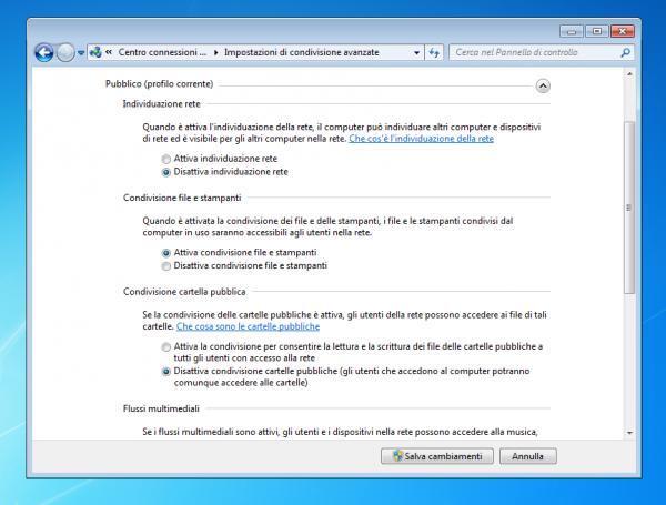 Abilitazione della condivisione di file e stampanti su Windows 7