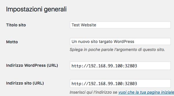Impostazioni istallazione WordPress