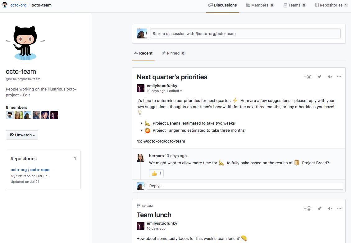 GitHub: un notizia chat platform per certo a lui