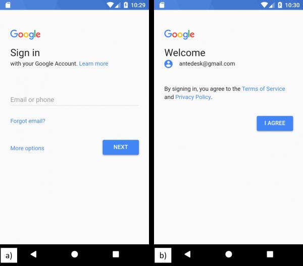 Schermata di a) autenticazione di Google, c) accettazione dei termini del servizio e della privacy