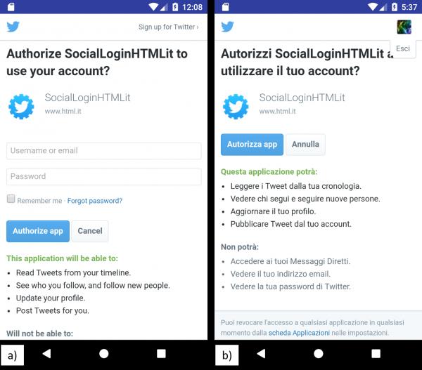 Schermata di a) autenticazione di Twitter, b) conferma autenticazione