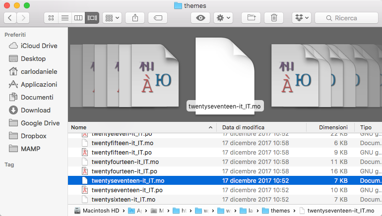 Directory dei file lingua