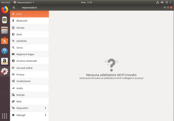 Interfaccia di configurazione di Ubuntu
