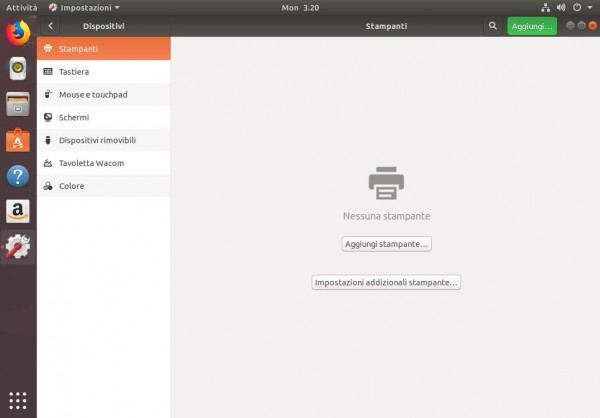 Interfaccia di configurazione dei dispositivi hardware di Ubuntu