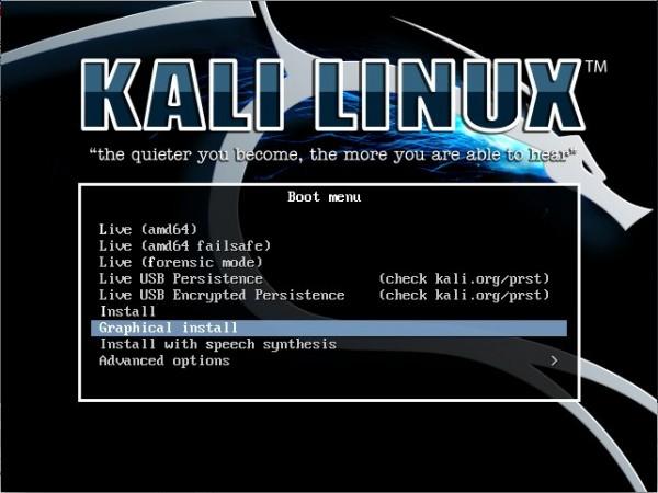 Schermata di installazione di Kali linux