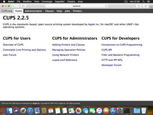 Interfaccia web di CUPS