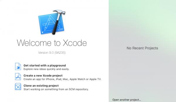 Schermata iniziale di Xcode