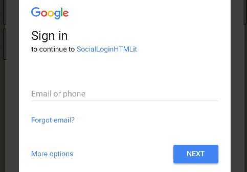 Schermata di autenticazione di Google