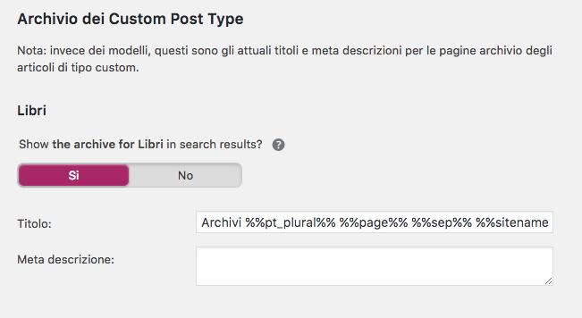 Configurazione degli archivi dei custom post type