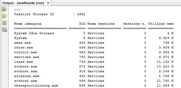 Esecuzione processo Tasklist di Windows
