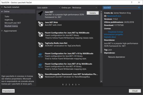 Installazione di Json.NET tramite NuGet