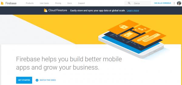 Pagina principale di Firebase