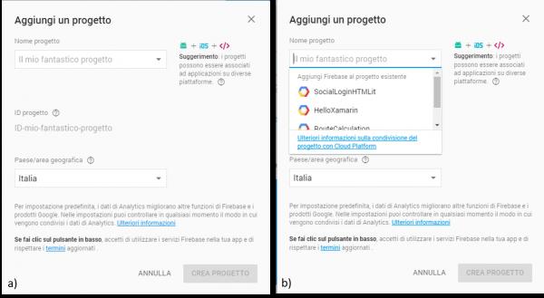 (a) Schermata iniziale per l'aggiunta di un nuovo progetto e (b) selezione di un progetto già esistente