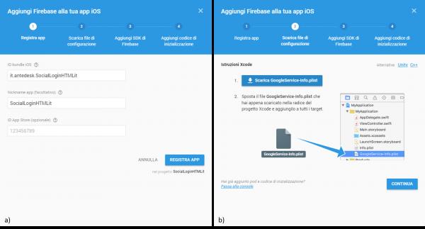 Aggiunta di Firebase ad un app iOS: (a) inserimento dei dati dell'applicazione; (b) download del GoogleService-Info.plist