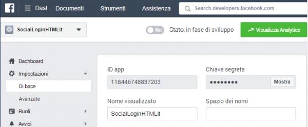 Impostazioni di base dell'app nella sezione developer di Facebook