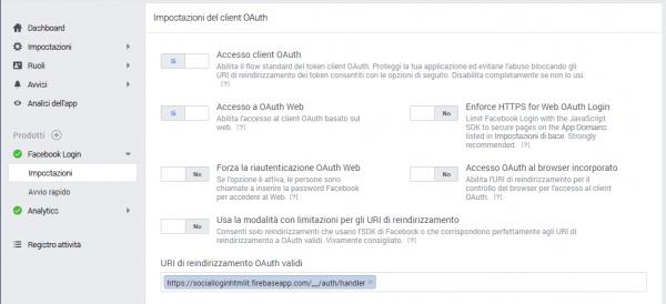 Aggiunta dell'URI di reindirizzamento OAuth