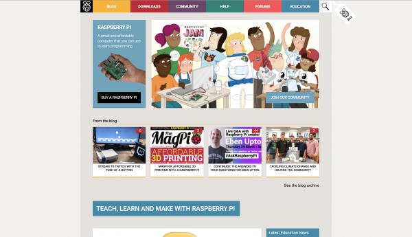 Homepage di raspberrypi.org