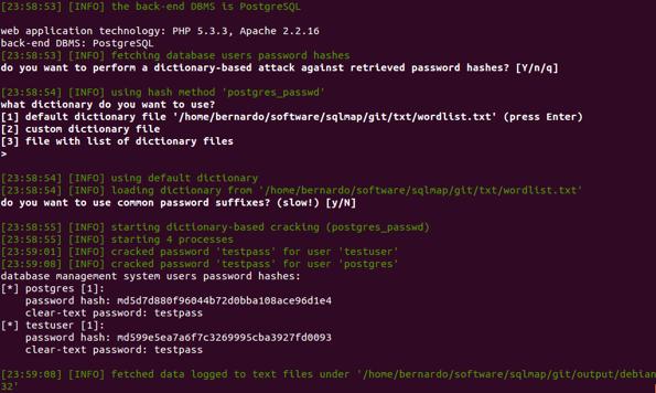 Scoperta delle password degli utenti memorizzati all'interno del DB
