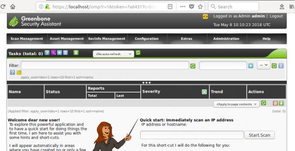 Interfaccia grafica di OpenVas