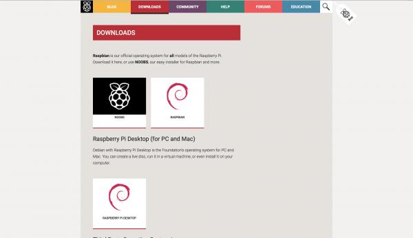 Pagina dei download su raspberrypi.org