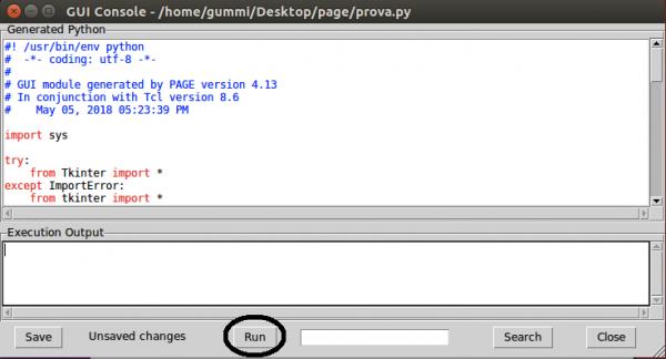 Esecuzione dell'interfaccia generata da PAGE