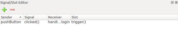 Aggiunta di un segnale/slot tramite editor