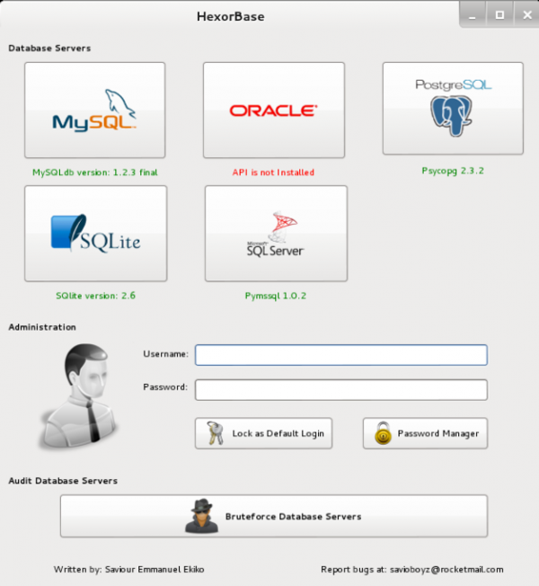 Interfaccia grafica di HexorBase