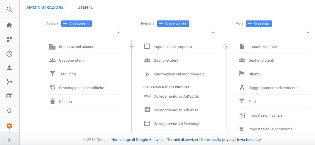 Crea account in Google Analytics
