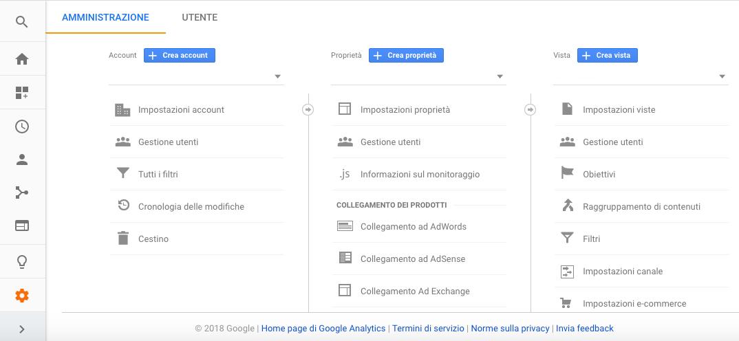 Crea account in Google Analytics