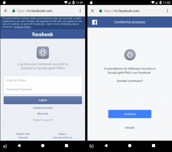 Schermata di a) autenticazione di Facebook, b) autorizzazione per l'accesso ai dati