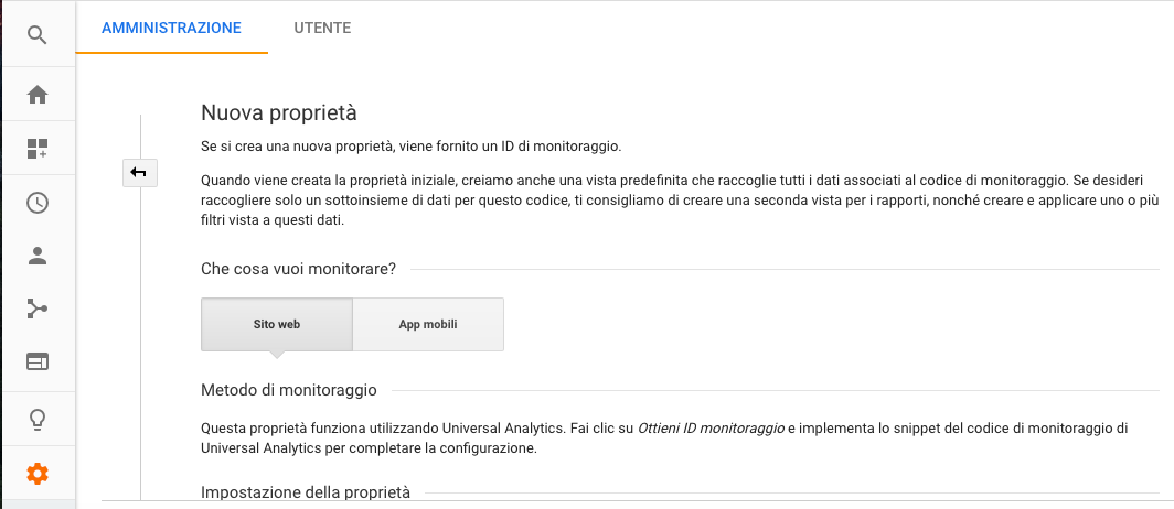 Nuova proprietà in Google Analytics