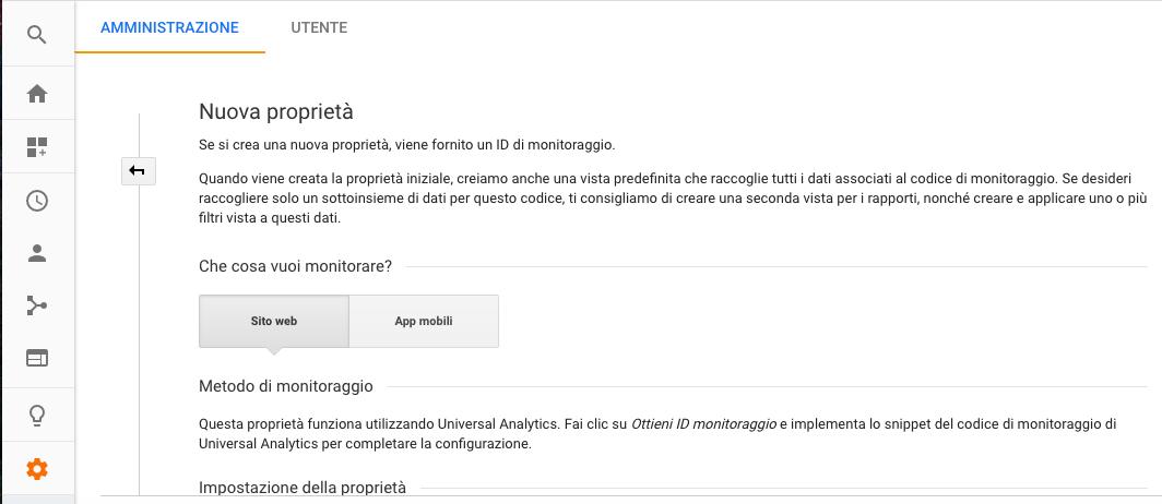 Nuova proprietà in Google Analytics