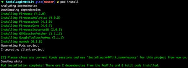 Output del comando pod install