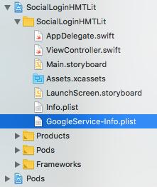 Locazione del file GoogleService-Info.plist all'interno del progetto