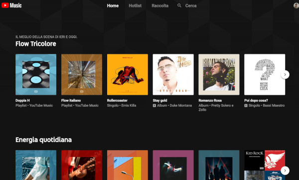 Interfaccia YouTube Music