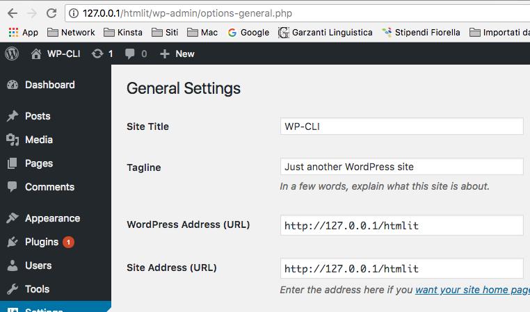 Impostazioni generali WordPress