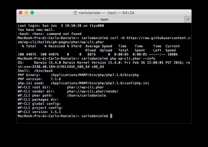 Verifica del file wp-cli.phar