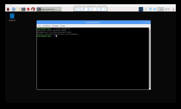 Modifica della password tramite terminale di Raspbian