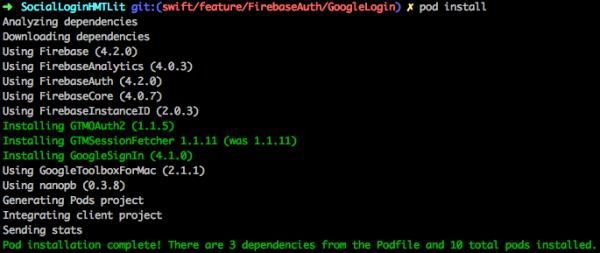 """Output del comando """"pod install"""""""